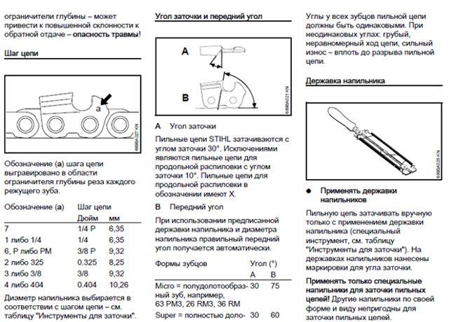 инструкция по заточке бензопилы штиль