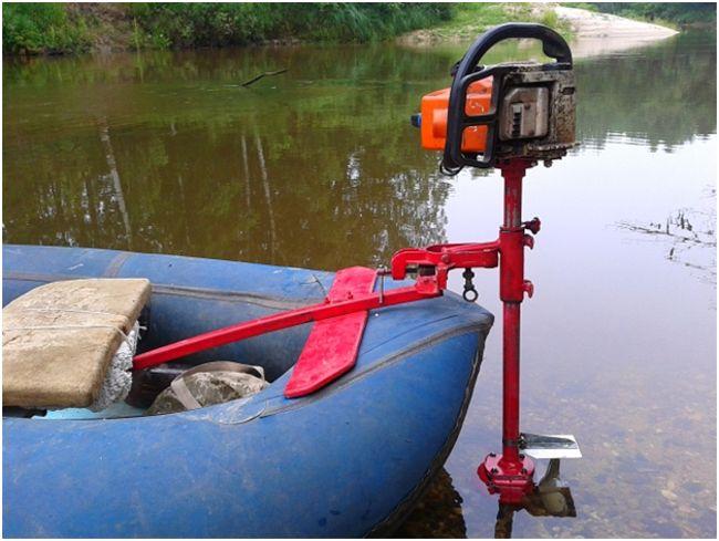мотор из бензопилы на лодке