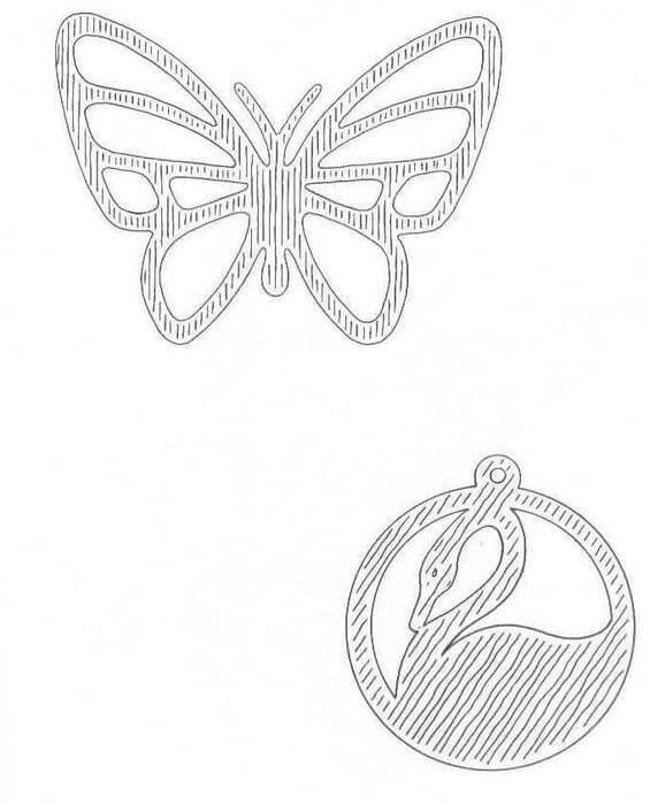 Трафарет бабочка и птица
