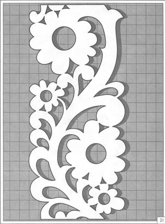 Трафарет бокового наличника цветок
