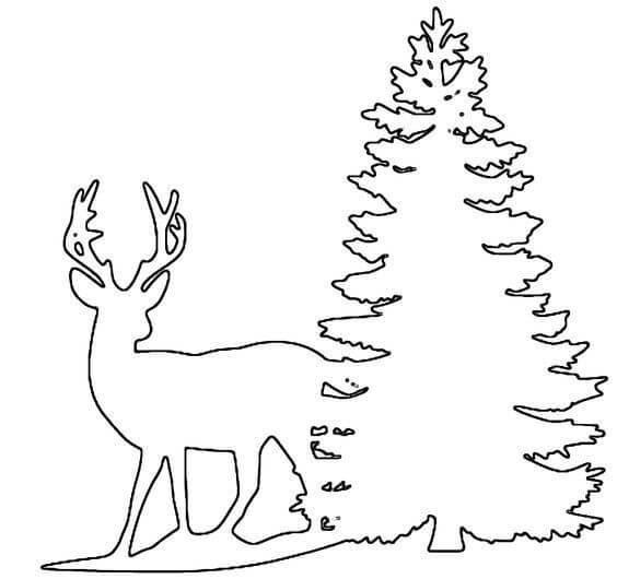 Трафарет олень и елка