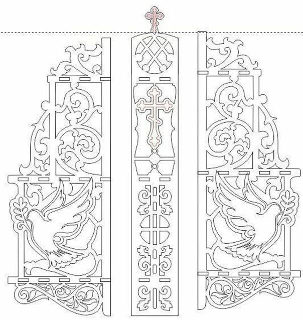 Трафарет православный мотив и голуби
