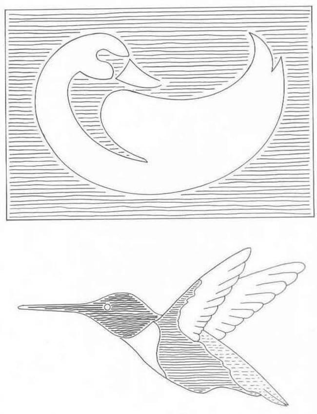 Трафарет птицы