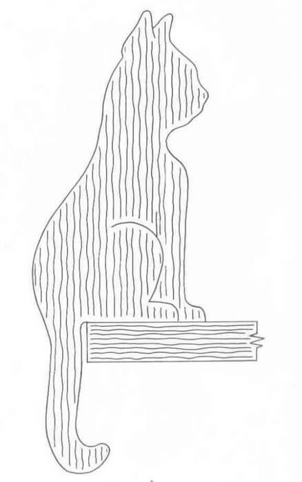 Трафарет сидящий кот
