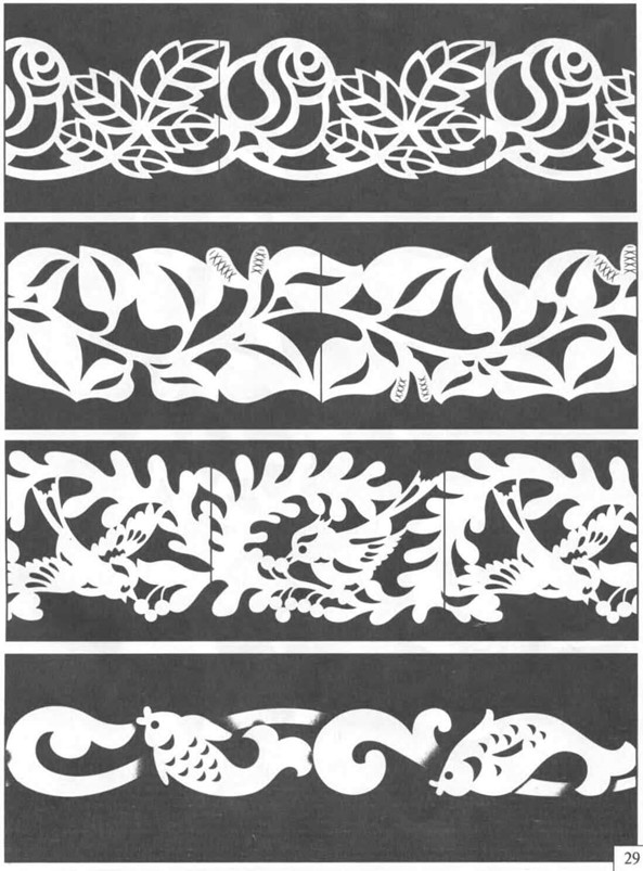 Трафарет верхнего наличника цветы, птицы, рыбы