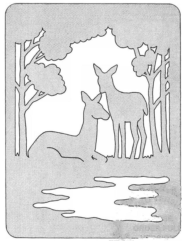 Трафарет животные в лесу